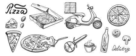 Vector illustration of a pizza delivery set. Slice, full, round, 24 hours delivery, knife, box, oil, olive, tomato, and bike. Vintage hand drawn engraving style.