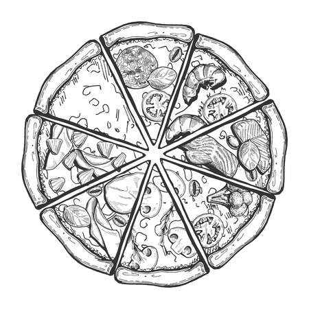 Vector illustration of a different pizza slices. Vintage hand drawn style. 矢量图像