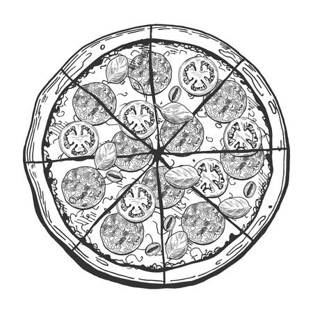 A Vector illustration of a whole sliced pepperoni or salami pizza with tomatoes, olives and basil. 向量圖像