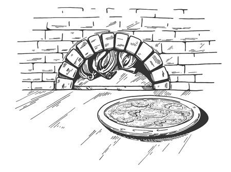 Eine Vektorillustration einer Meeresfrüchtepizza auf dem traditionellen Ziegelsteinbrennholz-Ofenhintergrund. Vektorgrafik