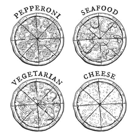 A Vector illustration of 4 popular pizza types – pepperoni, seafood, vegetarian and cheese pizzas.