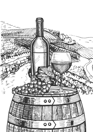 A Vector illustration of a wine still life. Bottle, glass and a bunch of grapes on the wooden barrel on the wine valley background.