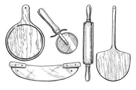A Vector illustration of pizza making tools Vintage hand drawn engraving style.