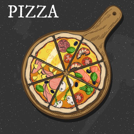 Vector illustration of a different pizza slices. Color realistic style.