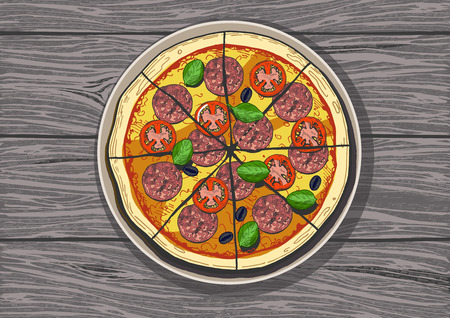 A Vector illustration of a whole sliced pepperoni on  Vintage hand drawn engraving style color illustration.  イラスト・ベクター素材