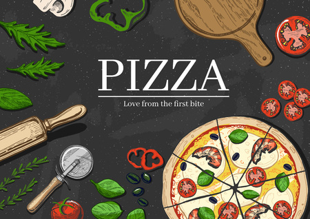 A Vector illustration of a seafood pizza cooking background realistic style. Illustration