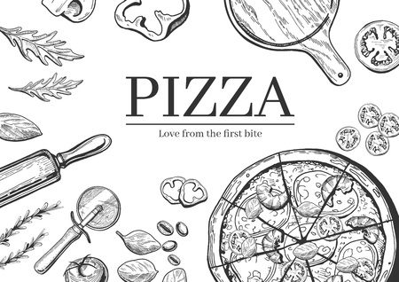 A Vector illustration of a seafood pizza cooking background vintage hand drawn.  イラスト・ベクター素材