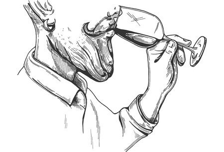 Illustrazione vettoriale di un sommelier uomo barbuto che prova il vino. Processo di consumo di alcol in uno stile di incisione disegnato a mano. Vettoriali