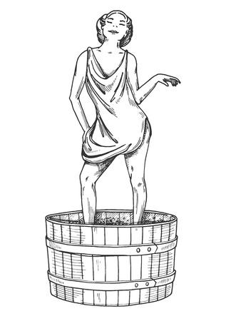 ワイン作りに足でブドウを破砕する魅力的な若い女性のベクターイラスト。ヴィンテージ手描きの彫刻スタイル。