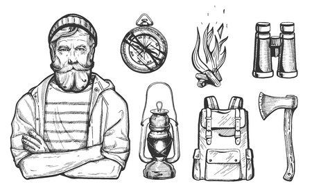 Vector illustration of hand drawn forest camping vacation objects set with a hiker man portrait. Compass, bonfire, ax, binoculars, backpack, lantern. Vintage engraving style. Banque d'images - 103072211
