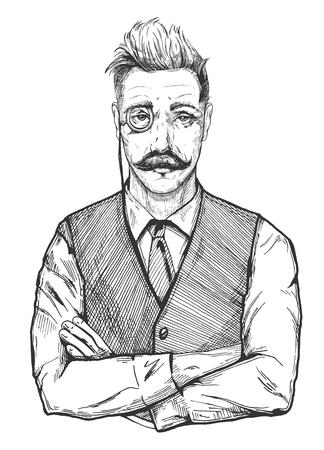Illustrazione vettoriale di uomo attraente in età. Ritratto di uomo in maglia, cravatta e camicia vintage, con monocolo. Acconciatura elegante, baffi a manubrio. Disegno di incisione vecchio stile disegnato a mano di un vecchio banchiere gentiluomo, uomo d'affari, avvocato, sarto, stilista, barbiere o calzolaio. Vettoriali