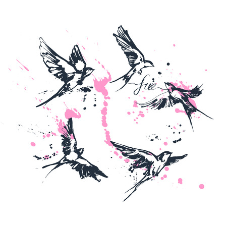 Illustrations vectorielles d'un ensemble d'oiseaux hirondelles volantes dynamiques. Oeuvre de peinture fragmentaire d'encre éclaboussant moderne. Dessin bleu avec calligraphie florissante étiquette gratuite et éclaboussures roses. Impression parfaite de tatouage ou de t-shirt.