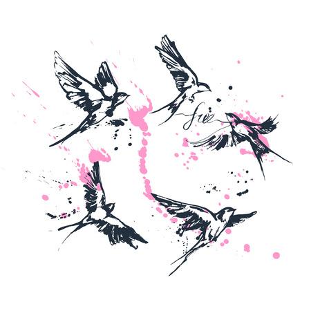 Ilustraciones vectoriales de un conjunto dinámico de aves golondrinas voladoras. Arte moderno de la pintura incompleta de la tinta que salpica. Dibujo azul con caligrafía floreciente etiqueta libre y salpicaduras de color rosa. Perfecto tatuaje o estampado de camiseta.