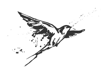 Vector illustration of a dynamic flying swallow bird. Modern splashing ink sketchy painting artwork. Monochrome black and white drawing, calligraphy flourishing style. Perfect tattoo or t-shirt print. Stock Illustratie