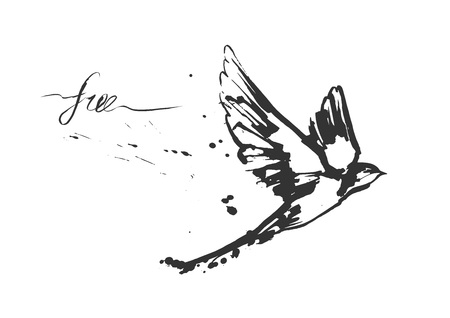 Vector illustrations of a dynamic flying swallow bird. Modern splashing ink sketchy painting artwork. Monochrome black and white drawing with calligraphy flourishing label free. Perfect tattoo or t-shirt print.