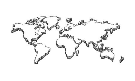 Vector illustration of a 3d empty blank white map. Vintage hand drawn engraving monochrome style.