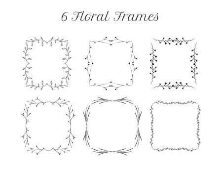 Vector illustration of 6 square vintage empty tender floral frames. Vintage hand drawn engraving monochrome style. Wedding decorative elements. Illustration