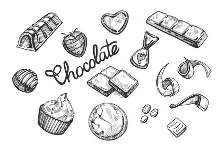 Vector illustration of a chocolate candy, bar, stripe, brownie, flakes, drops, cupcake, muffin. Vintage engraving hand drawn style. Иллюстрация