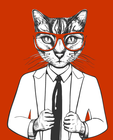 Vector illustration of a cat in suit and glasses. Successful businessman character in hand drawn vintage style isolated on red background.