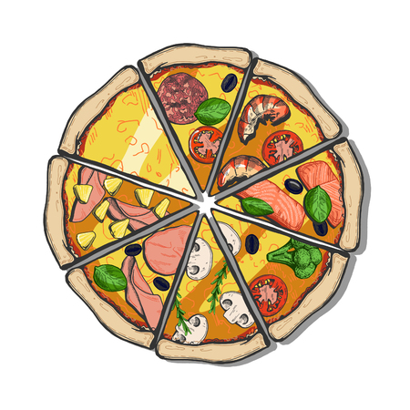 Vector illustration of a different pizza slices. Cheese, Margherita, pepperoni, seafood with shrimps, salmon, vegetarian with broccoli, mushroom champignon, ham, Hawaii. Vintage hand drawn style with color underlay.