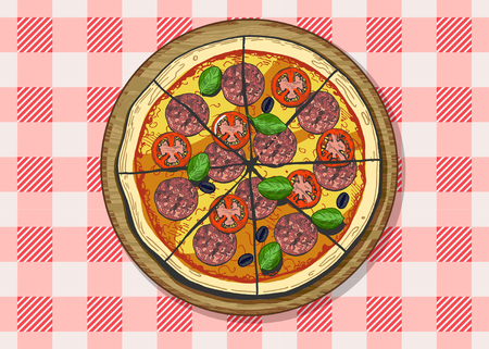 Vector illustration of a whole sliced pepperoni or salami pizza with tomatoes, olives and basil. Vintage hand drawn engraving style with color underlay. Plaid chequered tablecloth background.