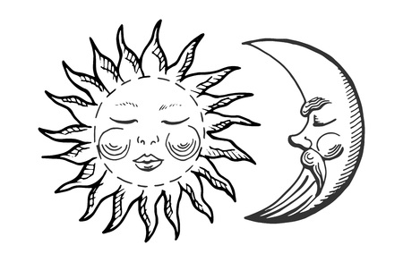 Vector illustration of a cartoon moon and sun icons. Vintage engraving hand drawn style.