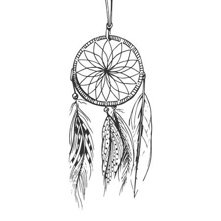 Ilustración de vector de un atrapasueños boho monocromo con perlas y plumas. Estilo de dibujado a mano grabado vintage. Ilustración de vector