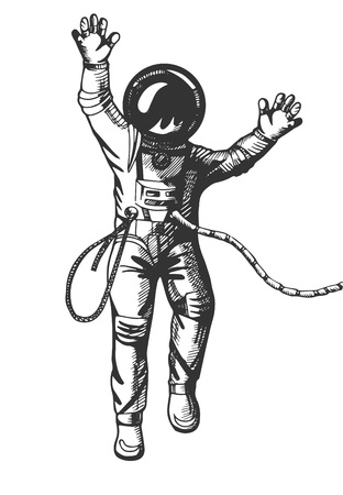Vector illustration of the astronaut floating in space in spacesuit. Vintage hand drawn monochrome engraving style isolated on white.
