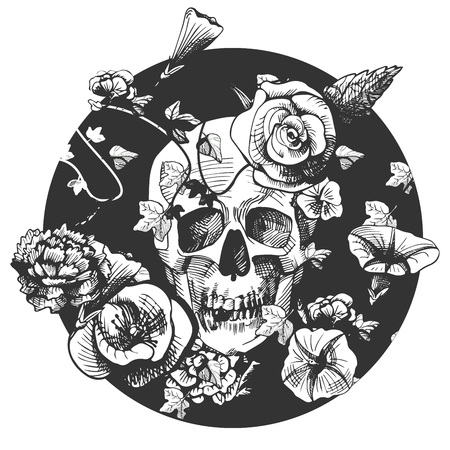Vector illustration of a skull surrounded and covered with plants and flowers on black round background. Vintage engraving style
