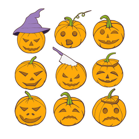 Vector illustration of a Halloween pumpkins set. Color graphic set of evil, scared, smiling emotions. Pumpkin in witch hat, with ax or knife in head. Illustration