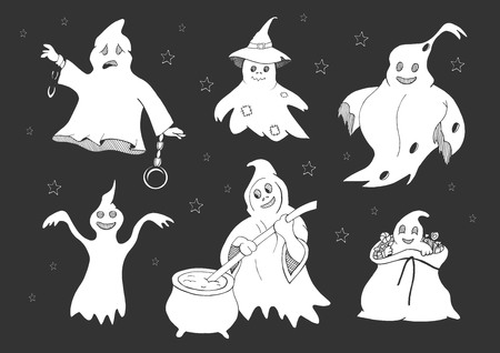 Vector illustration of a cute ghosts set. Halloween party celebration collection. Ghost in chains, in witch hat, spooky, in the bag of candies sweets, making boiling potion. White linear detailed outline drawing isolated on dark background.
