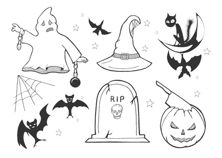 Vector illustration of a Halloween set. Ghost in chains, witch hat, bat collection, black cat, RIP tombstone on the grave, spider web, evil pumpkin with ax in head. Black and white outline cartoon doodle drawing.