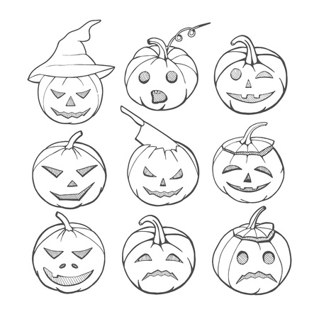 Vector illustration of a Halloween pumpkins set. Black and white linear graphic set of evil, scared, smiling emotions. Pumpkin in witch hat, with ax or knife in head.