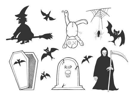 Vector illustration of the Halloween set. Witch on a broomstick, voodoo doll with pins, spider, spiderweb, bat silhouettes collection, RIP tombstone, grave, open coffin, death ghost, grim reaper. Black and white outline cartoon doodle drawing.