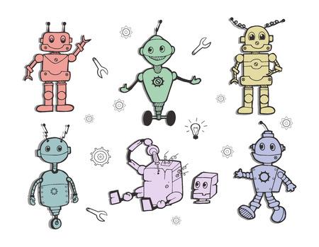 Vector illustrations of a cute robots set. Kids robotics inventions collection. Cute pastel colors, hand drawn art
