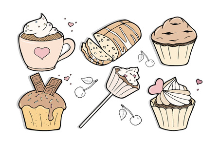 Vector illustration of different sweet delicious cakes set. Cupcake, mug cake, muffin, chocolate fondant, on stick, German stollen, cherry, bakery, confectionery shop. Vintage hand drawn engraving style