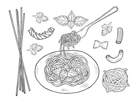Ilustración de vector de un juego de pasta. Plato y tenedor con espaguetis macarrones, moño o mariposa, farfalle, nido, fusilli, tortiglioni, rigatoni. Estilo de grabado dibujado a mano vintage. Ilustración de vector