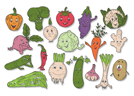 Vector illustration of kids vegetables with faces set in hand-drawn ink cartoon style. Broccoli, cauliflower, cabbage, beetroot, potatoes, aubergine, zucchini, carrot, onion, celery, ginger, garlic, tomatoes, cucumber, pepper, chili, leek
