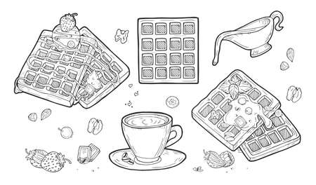 Vector illustration of belgian waffles set. Top wiev, perspective ¾. Fruits and berries, strawberry, raspberry, blueberry, nut, walnut, ice cream ball, chocolate sauce, caramel, gravy boat, espresso coffee cup. Vintage hand drawn engraving style. Illustration