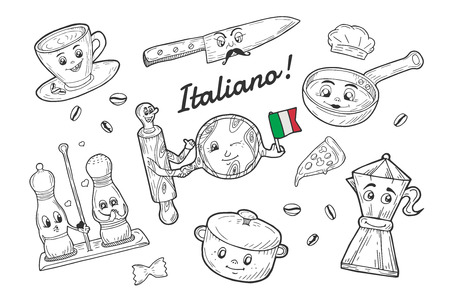 Vector illustration of Italian tableware cartoon doodle set. Espresso coffee cup, knife with moustaches, salt and pepper containers, sauce pan, moka pot, pizza circle board and rolling pin holding hands. Italy flag, Italiano badge. Illustration