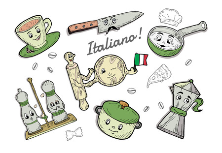 Vector illustration of Italian tableware cartoon doodle set. Espresso coffee cup, knife with moustaches, salt and pepper containers, sauce pan, moka pot, pizza circle board and rolling pin holding hands. Italy flag, Italiano badge. Ilustração