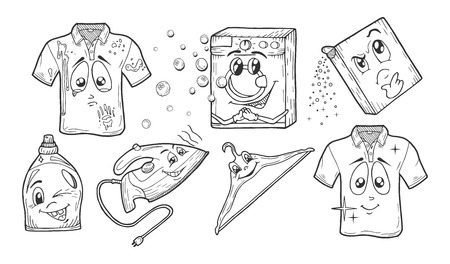 Vector illustration of a cartoon doodle style hand drawn laundry set. Dirty t-shirt, washing machine, powder, gel, stain remover, whitener, pressing iron, hanger, bright clean white polo.
