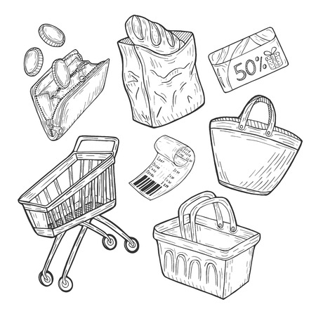 Vector illustration of a supermarket shopping groceries objects set. Economy wallet with falling in coins, paper bag with bakery bread loaf, discount loyalty card, purchase check, basket, trolley, bag  イラスト・ベクター素材
