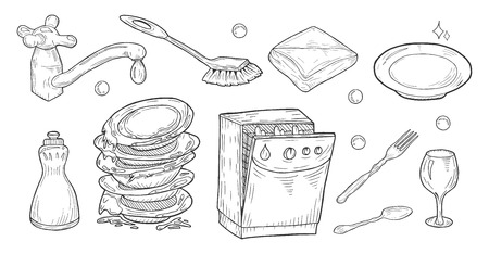Vector illustration of dishes washing process objects set. Soap, water faucet, dishwasher, brush, cloth, sponge, dirty and shiny clean dishes, glass, fork. Vintage hand drawn cartoon doodle style.