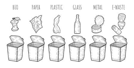 Vector illustration of a garbage sorting process. Trash bin, bio, paper, plastic, glass, metal, electronic waste, e-waste. Apple core, bottle, tin, energy saving lamp, alkaline battery. Hand drawn set