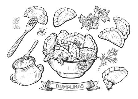 Ilustración de vector de bolas de masa hervida. Bola de masa en un tenedor, un cuenco, crema agria en una olla de barro con una cuchara, perejil, relleno de cereza. Dibujo dibujado a mano vintage.