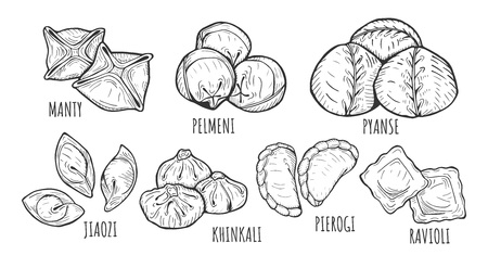 Vector illustration of different dumplings types and styles. Manty, meat dumpling, pelmeni, jiaozi, pyanse or pigodi, khinkali, ravioli, Pierogi or varenyky. Vintage hand drawn style.