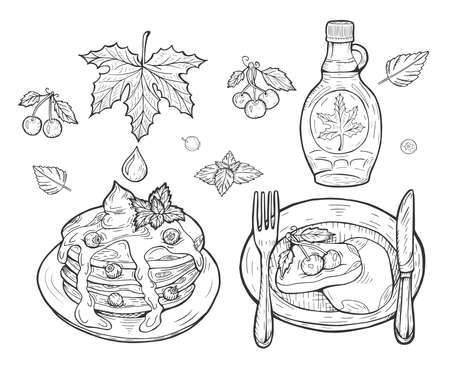 Vector illustration of pancakes with maple syrup. Pancakes on the plate serving with blueberries, breakfast with fork and knife, cherries, leave. Vintage hand drawn drawing style.