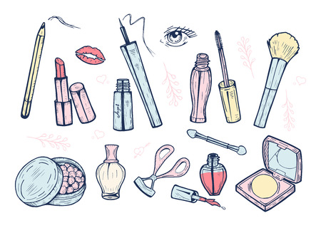 Vector illustration of a cute girlish makeup items icons set in hand drawn doodle style. Eyeliner, brow pencil, powder, mirror, blush, lash curler, applicator, lipstick, eyeshadows, perfume, nail poli
