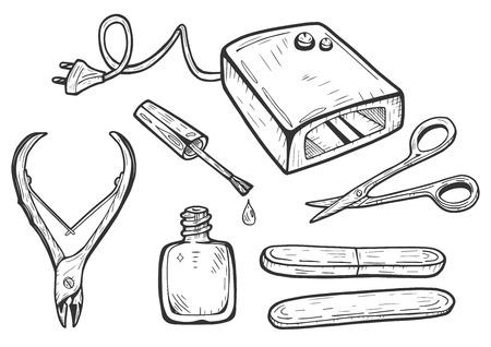 Illustration vectorielle d'un ensemble d'outils de manucure gel professionnel. Lampe UV Shellac LED, vernis à ongles, ciseaux, coupe ongles ou cuticules, lime à ongles. Style de dessin sommaire dessiné à la main vintage